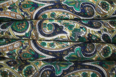 Indian Paisley Green Multi Silk Crap Mix Fabric For Dress Sawing Materiel Fabric