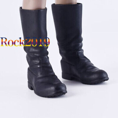 "1/6 Scale German Army Officer Black Combat Boots High Tube For 12"" Action Figure"