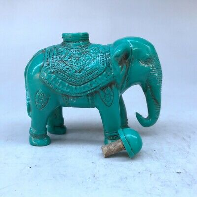 Pure hand-carved snuff bottle artificial turquoise elephant statue