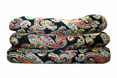 5 yard Silk Mix Fabric Dress Black Paisley Floral Mix Fabric Dress Fabric Art