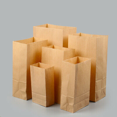 20pcs Brown Kraft Block Bottom Vantage Paper Bags Party Gift Lunch Deli Cafe NEW