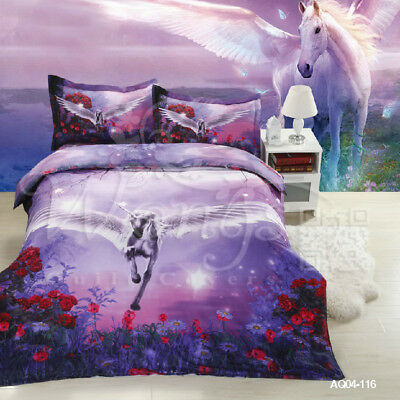 Unicorn Quilt Doona Duvet  Covers Set King Size Bed Animal Pillow Cases Bedding