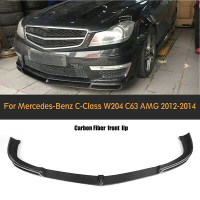 Carbon Fiber Front Bumper Center Cover Lip for Benz W204 C63 AMG Only 2012 UP