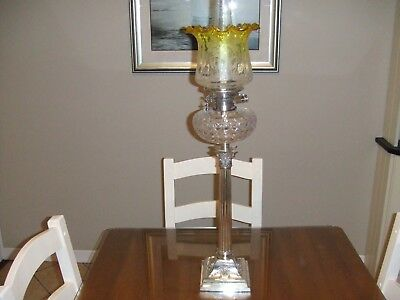 Silverplated  Oil Lamp with Yellow etched Tulip Shade.