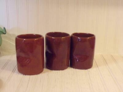 Bybee KY Art Pottery  - 3 Brown Pinched Tumblers Mid-Century Retro
