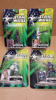 """Star Wars Attack of the Clones """"Sneak Preview"""" Complete 2001 Set of 4"""