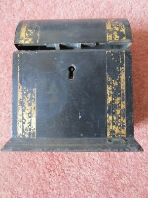 Antique metal tea box (early 19 century, HF & Co) with two compartments