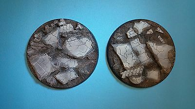2 X Painted 80mm resin bases Ruined City Forgeworld Dreadnought Leviathon 40k
