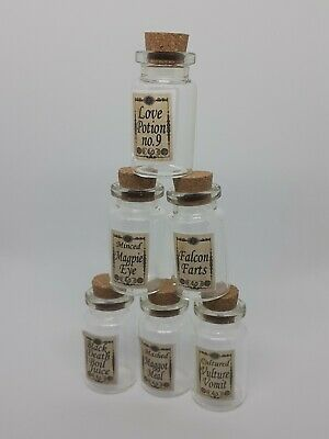 6 x Harry Potter Potion Bottles with labels / magic / spells /halloween FREEPOST
