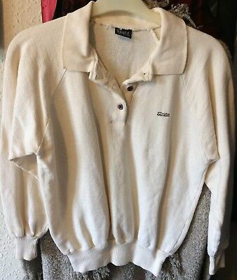Vintage Ivory Brushed Cotton Knit Sweatshirt By Simon, old Size 10 (today's 8)