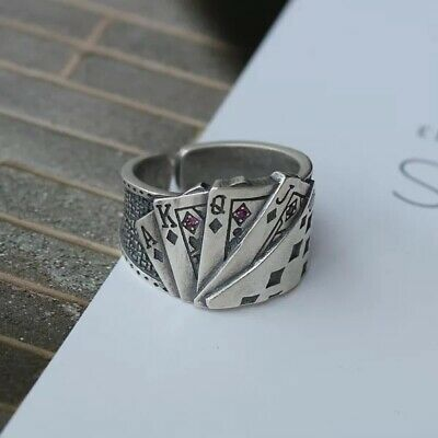 9.5g Vintage 925 Silver Solid Casting Cool Ring Handmade Straight flush Man Gift