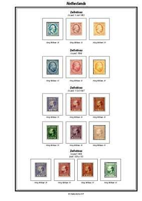 Print your own Netherlands Stamp Album, fully illustrated and annotated