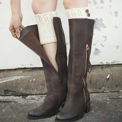 Chic Women Knee Leg Warmers Knitted Crochet Boot Cover Cuffs Socks Topper New N7