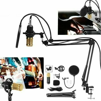 BM-800 Audio Studio Condenser Microphone Scissor Arm Stand Mount Pop Filter Kit