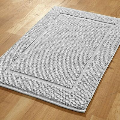 Pack of 2 100% Cotton 700 gsm Terry Towelling White Bath Mats - 50cm x 75cm