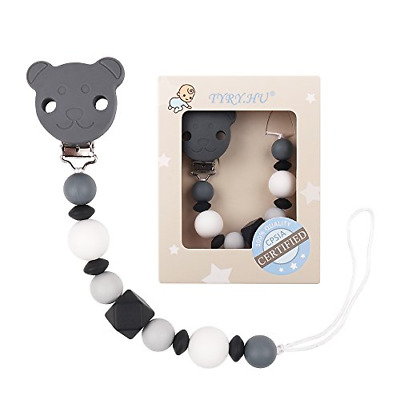TYRY.HU Teething Dummy Clip Baby Pacifier Clips Silicone Teether Soother Chain