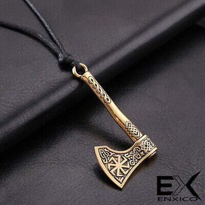 ENXICO Viking Battle Axe Amulet Pendant Necklace with Sun Wheel Pattern Nordic