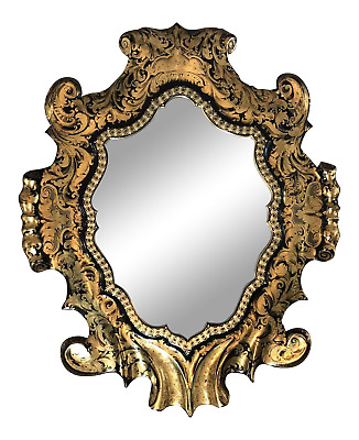 Extraordinary Antique Black Lacquer & Gold Leaf Sculpted Shield Shape Mirror