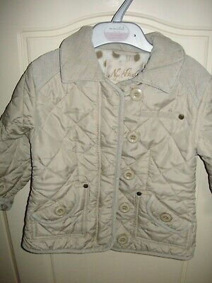 NEXT Girls Age 3-4 Years Cream Barbour Style Quilted Smart Jacket Coat In VGC