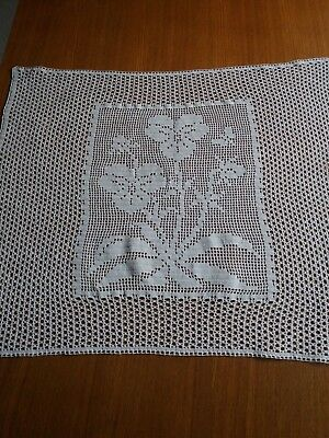 ANTIQUE Art Deco Handmade Crochet Lace Centerpiece Runner White 100% Cotton