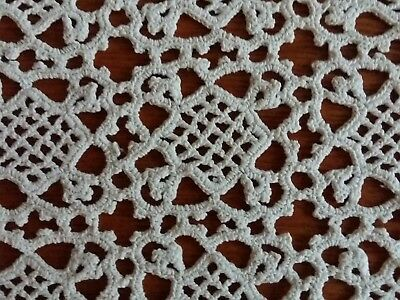 ANTIQUE Victorian Handmade Venetian Lace Tablecloth Rectangular White 27x12.5""