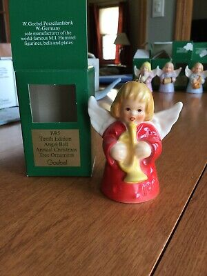 Vintage 1985 10th Edition Goebel Angel Bell  Annual Christmas Tree Ornament