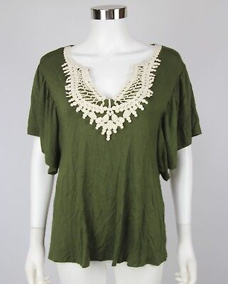 NWT Naif Top Womens Army Green Crochet Trim Short Sleeve Rayon Shirt Size Small
