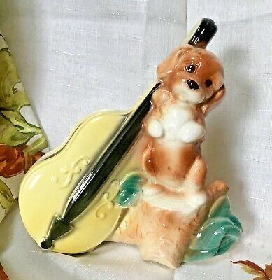 Rare Royal Copley Dog with String Bass Planter Spaulding China Co. Nice & Clean!