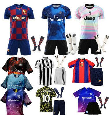 18/19/20 Football Outfit Kit Soccer Jersey Strips Training Suits For Kids Adults