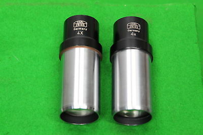 Pair of Carl Zeiss Microscope Eyepieces Lens 4x Laboratory Lab Equipment