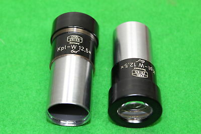 Pair of Carl Zeiss Microscope Eyepieces Lens Kpl-W 12.5x Laboratory Equipment
