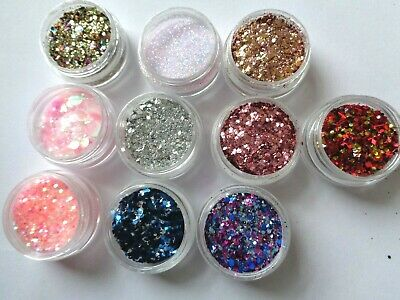 10 x 5g  NSI PRE MIXED  COLOURED ACRYLIC POWDERS - STUNNING EFFECTS - UK SELLER