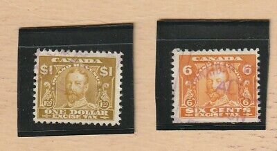 Canada Stamp EXCISE TAX RARER VALUES $1&.06 KING GEORGE V 2 stamps USED LOT 463