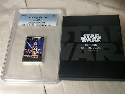 2017 STAR WARS RETURN OF THE JEDI 1OZ 999 SILVER PCGS PR70DCAM NIUE $2 w/box coa
