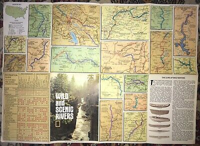 1977 National Geographic Wild & Scenic Rivers Folding Map Cartography