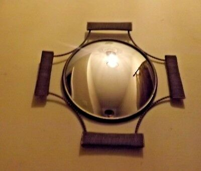 Vintage Art Deco Convex Mirror With Metal Brass Coloured Frame