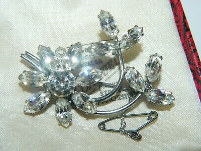 Vintage antique art deco marquise cut wire work diamante paste brooch safety cha