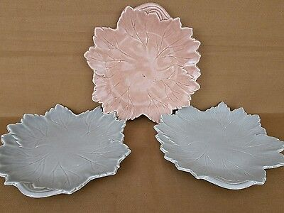 """Woodfield Leaf Plate Steubenville Russell Wright 8 3/4"""" Luncheon Plates Lot Of 3"""