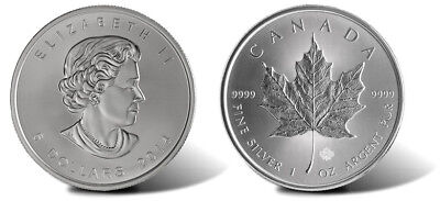 2014 Canada Silver Maple Leaf Coin 1 oz .9999 Silver Bullion (25 count stack)