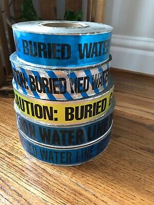 Lot Of 5 CAUTION ; BURIED WATER LINE Below  & Buried GAS Line BELOW TAPE