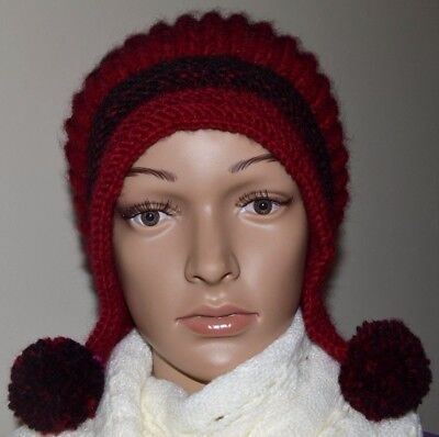 6e37a4ccfb8 NEW Hand Knitted Soft Wool Blend Women s HAT BEANIE One Size Christmas Gift  Red