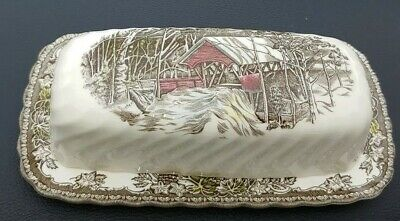 Johnson Bros THE FRIENDLY VILLAGE Covered Butter Dish the covered bridge *stamp*