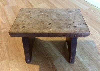 Primitive wooden stool dating 1890, rustic farmhouse, history known