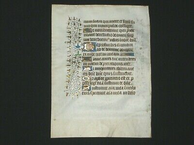 RARE Illuminated Medieval Manuscript Vellum Book of Hours Leaf w/ Gold, c.1440