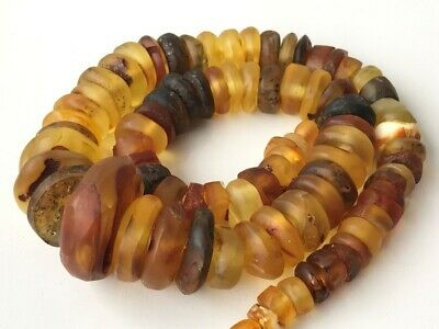 Natural Antique Baltic Vintage Amber OLD BUTTERSCOTCH  BEADS Necklace 81 gr