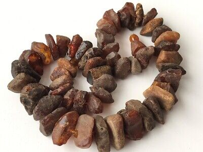 Natural Antique Baltic Vintage Amber OLD BUTTERSCOTCH  BEADS Necklace 71 gr