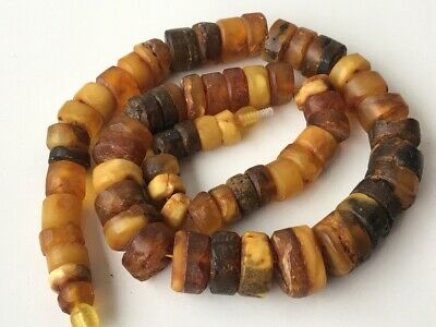 Natural Antique Baltic Vintage Amber OLD BUTTERSCOTCH  BEADS Necklace 69 gr