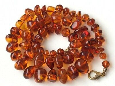 RARE Natural Antique Baltic Vintage Amber OLD BUTTERSCOTCH  BEADS Necklace 30 gr