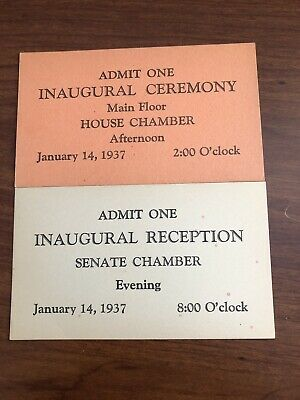 1937/franklin D. Roosevelt-Inaugural Reception+Ceremony/senate+House/ticket Stub