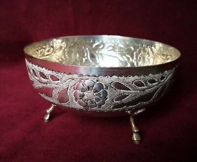 Solid Silver (830) Footed Bowl Engraved Megacycle Shipping Co  Larnaca Rose 174g